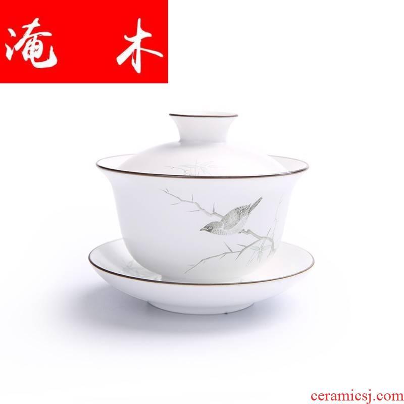 Submerged wood jingdezhen hand - made pastel fat Bai Ding up white only three tureen kung fu tea set high - grade ceramics