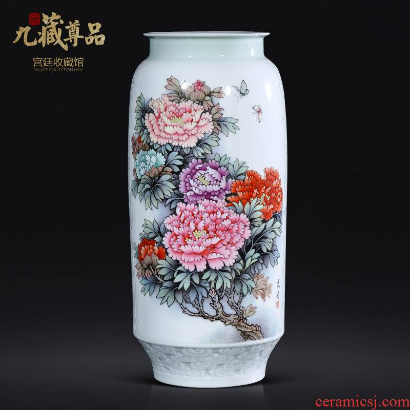 Jingdezhen ceramics master hand made peony vases, Chinese style living room TV ark, flower arranging porch is decorated furnishing articles