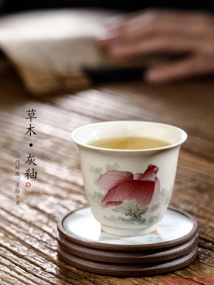 Plant ash glaze masters cup single CPU jingdezhen kung fu tea set sample tea cup only hand - made ceramic checking goldfish