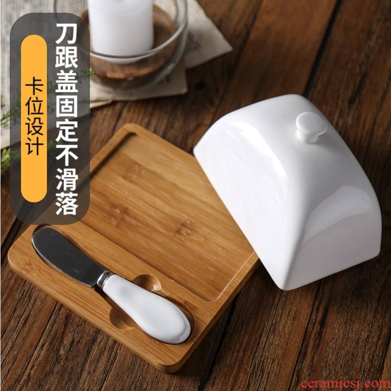 Porcelain wooden house new ceramic butter dish cheese box butter dish with the butter knife suit cake dessert with cover