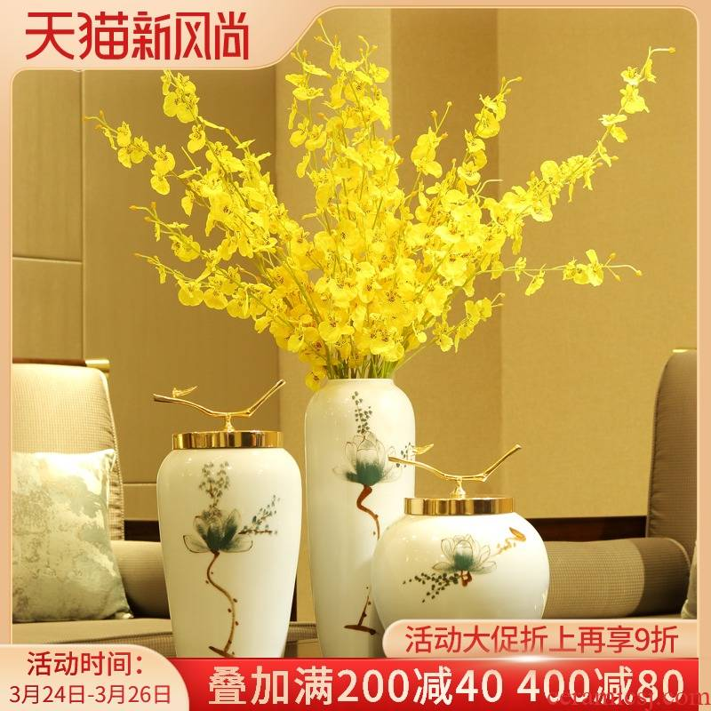 The New Chinese vase dry flower arrangement table, TV ark, place the sitting room porch creative hand - made ceramic home decorations