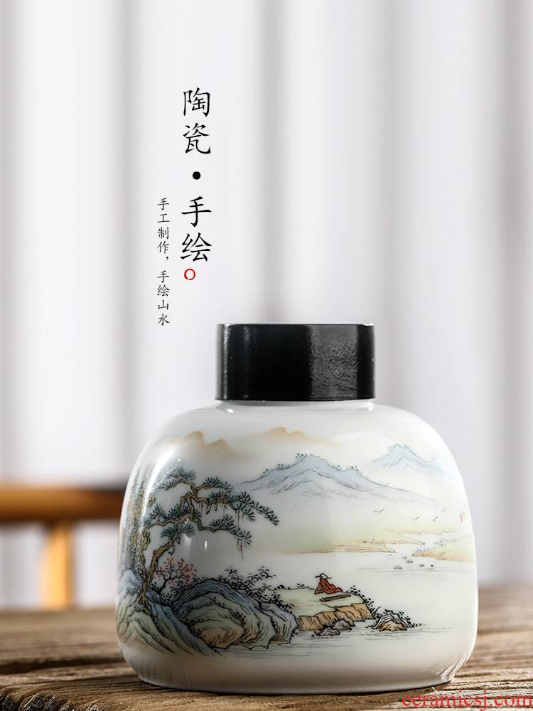 Jingdezhen checking ceramic tea pot portable hand - made scenery figure household kung fu tea boutique tea storage tanks