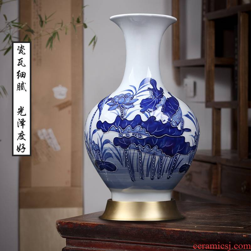 Jingdezhen blue and white design furnishing articles of modern Chinese style household, sitting room porch lotus decoration ceramics craft vase