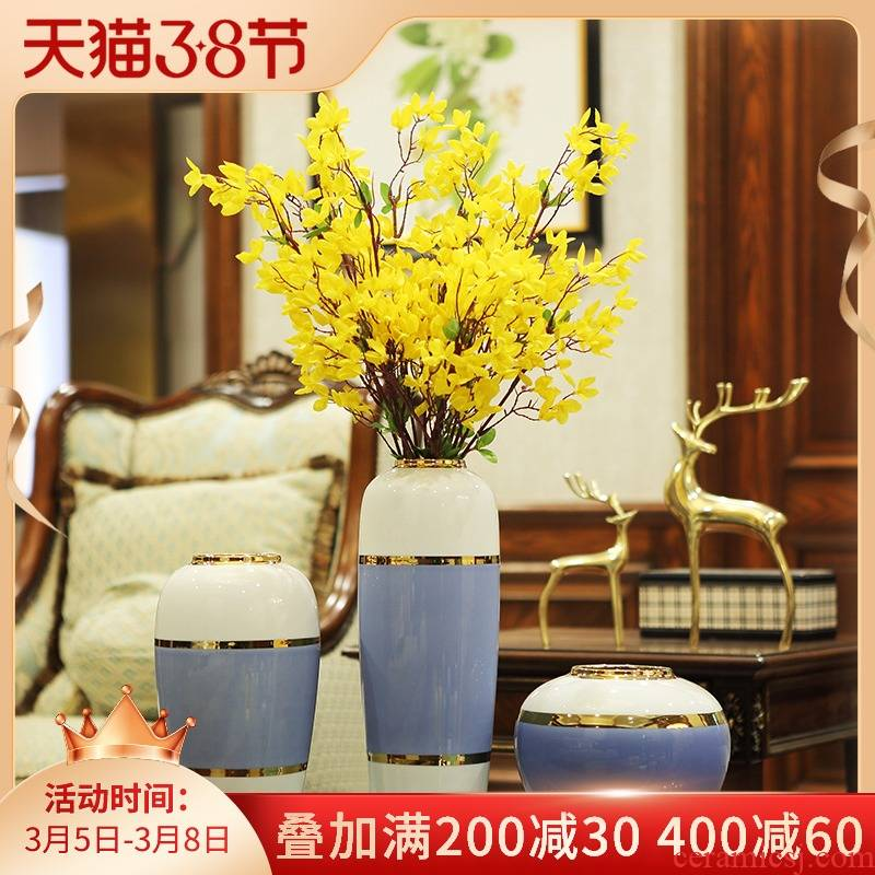 New Chinese style ceramic vase flower arranging dried flowers simulation flower, TV ark, place of the sitting room porch European simple decorations