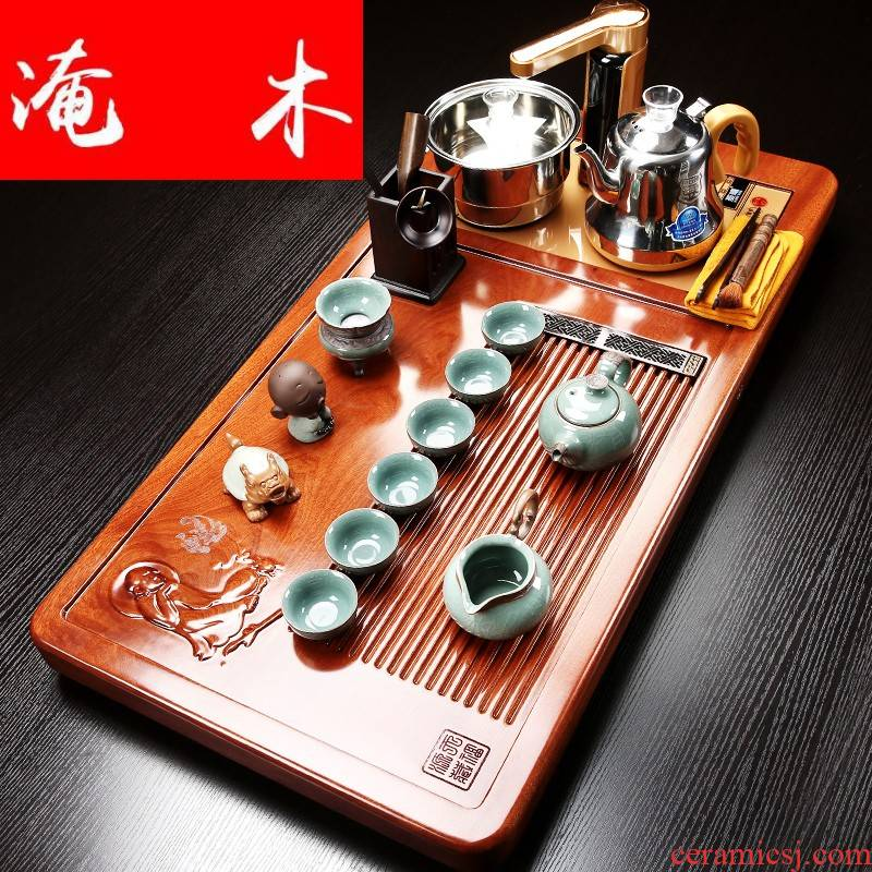 Submerged wood blocks of a complete set of hua limu tea tray was violet arenaceous elder brother up kung fu tea set household solid wood tea table induction cooker