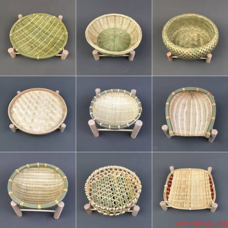 The Small bamboo basket basket tray with base wooden dustpan manual bamboo fruit basket household tea fruit bowl bowl dish snacks