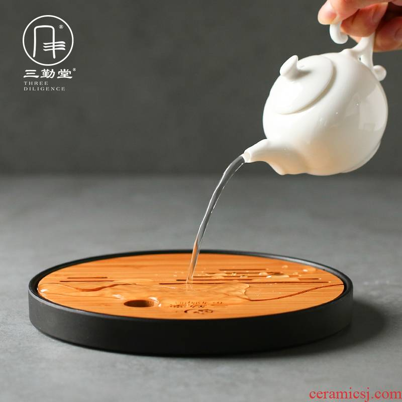 The three frequently small tea tray dried bamboo bamboo surface of small drainage kung fu mercifully water retainer plate S91016 ceramic pot