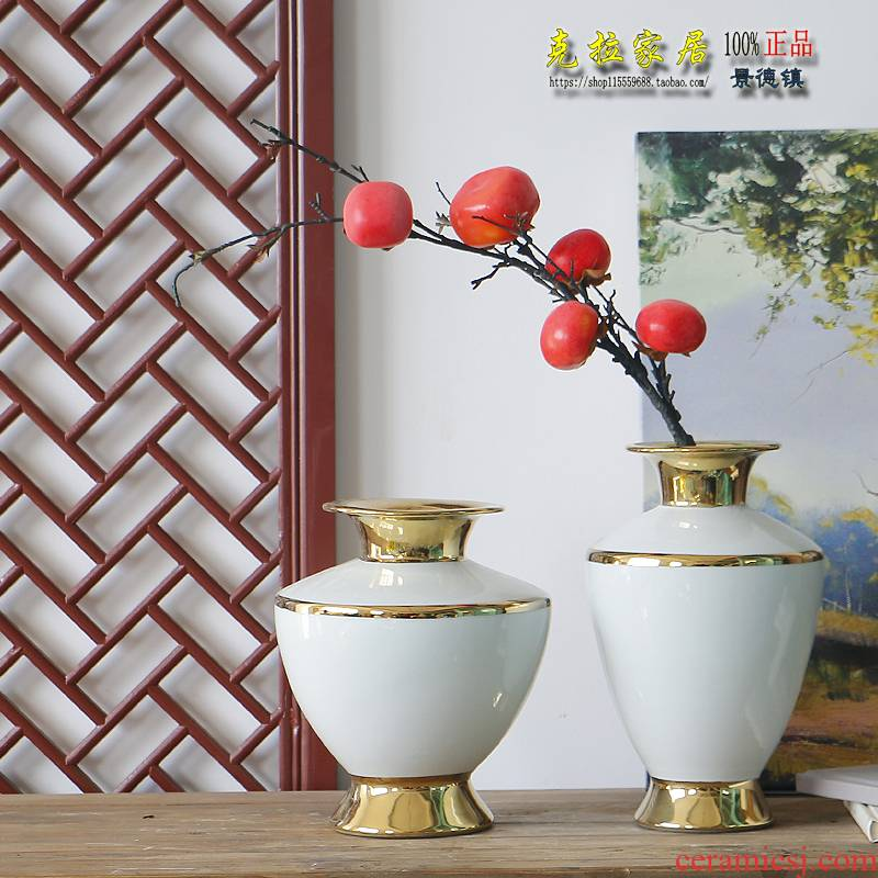 Authentic jingdezhen ceramic vases, new Chinese style is I sitting room furnishing articles contracted white flower arranging up phnom penh European - style dress