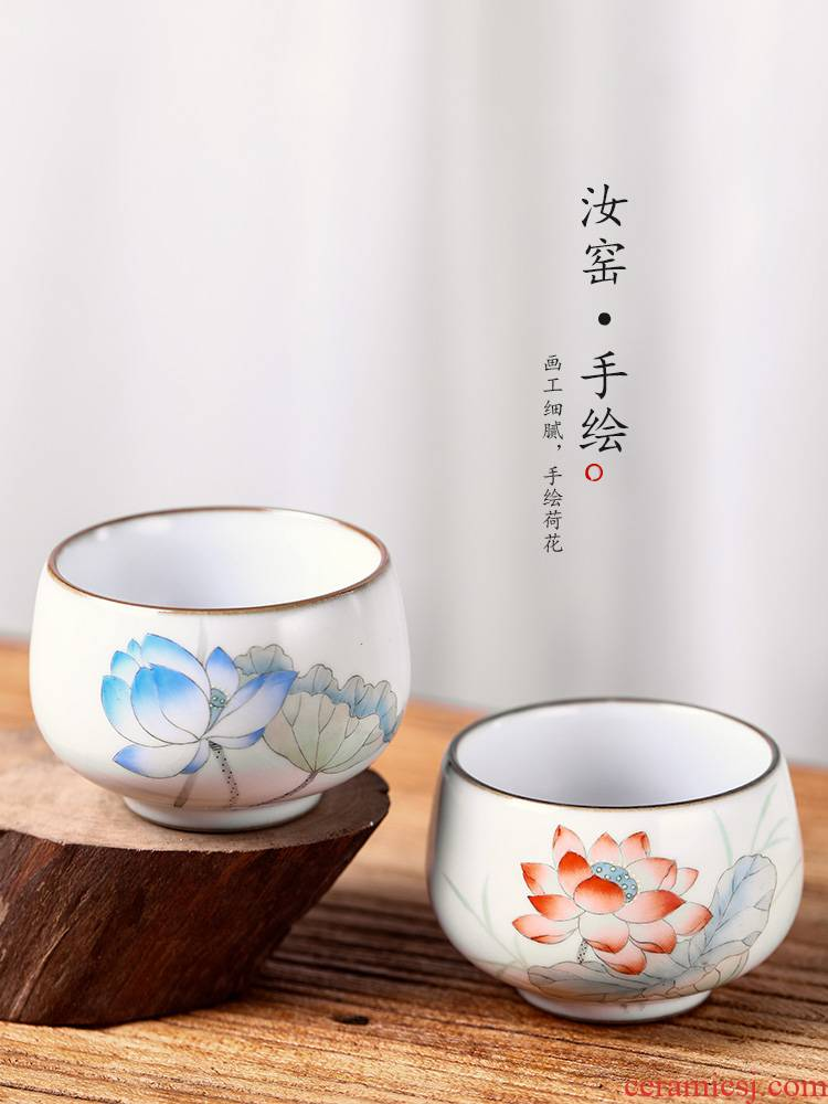 Master your up sample tea cup cup of pure manual single CPU jingdezhen ceramic hand - made kung fu tea lotus for a cup of tea