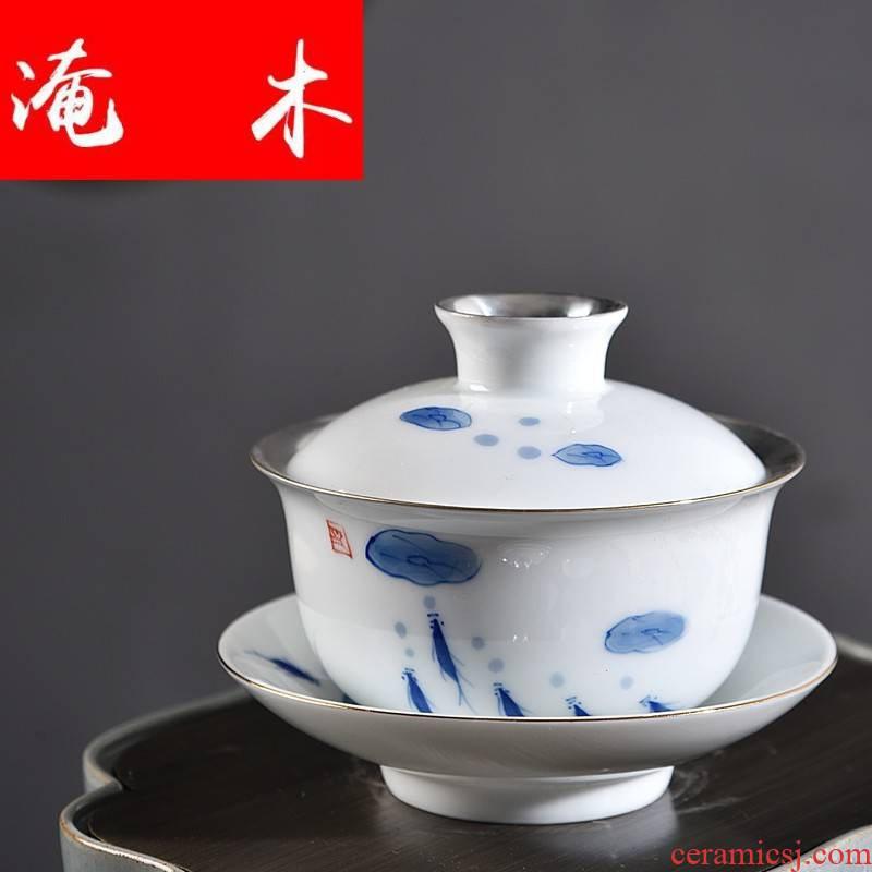 Flooded wooden household hand - made porcelain jingdezhen ceramics tureen checking sterling silver kungfu tasted silver gilding GaiWanCha only three