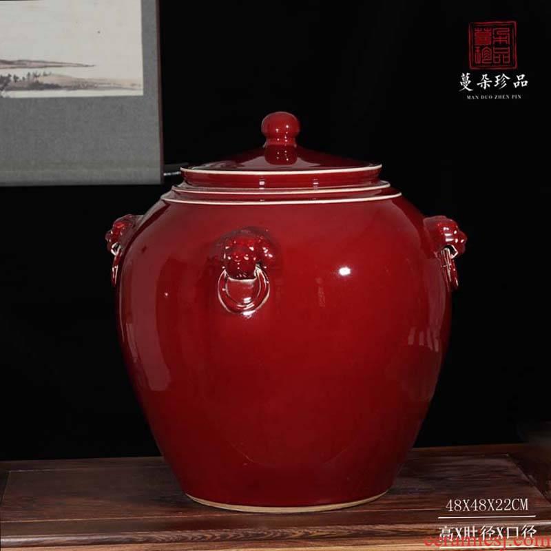 Jingdezhen red tiger porcelain cover pot type idea gourd storage cover pot wedding supplies new decorative porcelain