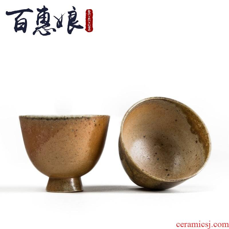 (niang manual wood beaker coarse pottery sample tea cup to use individual cup cup up kung fu master cup a cup of tea