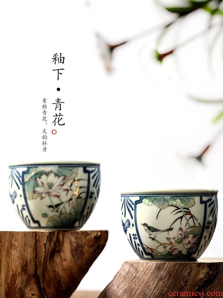 Jingdezhen porcelain bird kung fu master cup single CPU hand - made lotus cup sample tea cup single checking ceramic cup