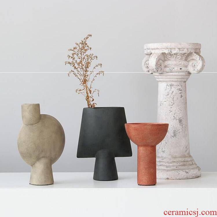 Wabi-sabi wind checking pottery the abstract geometric flower implement modern furnishing articles vase decoration art example room of the home stay facility