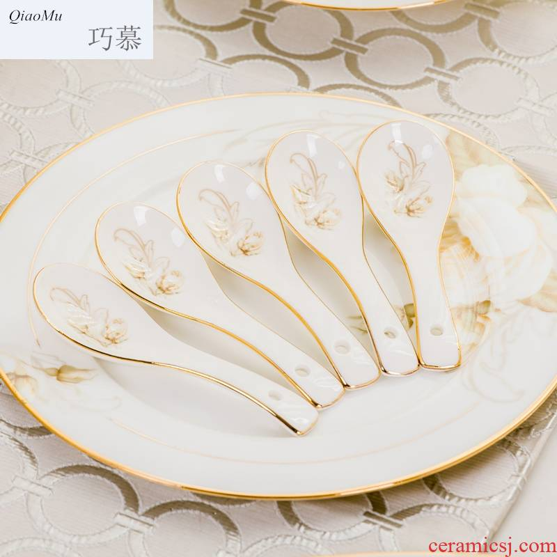 Qiao mu dishes suit household European - style fuels the jingdezhen porcelain tableware dish bowl chopsticks sets ipads ceramic bowl