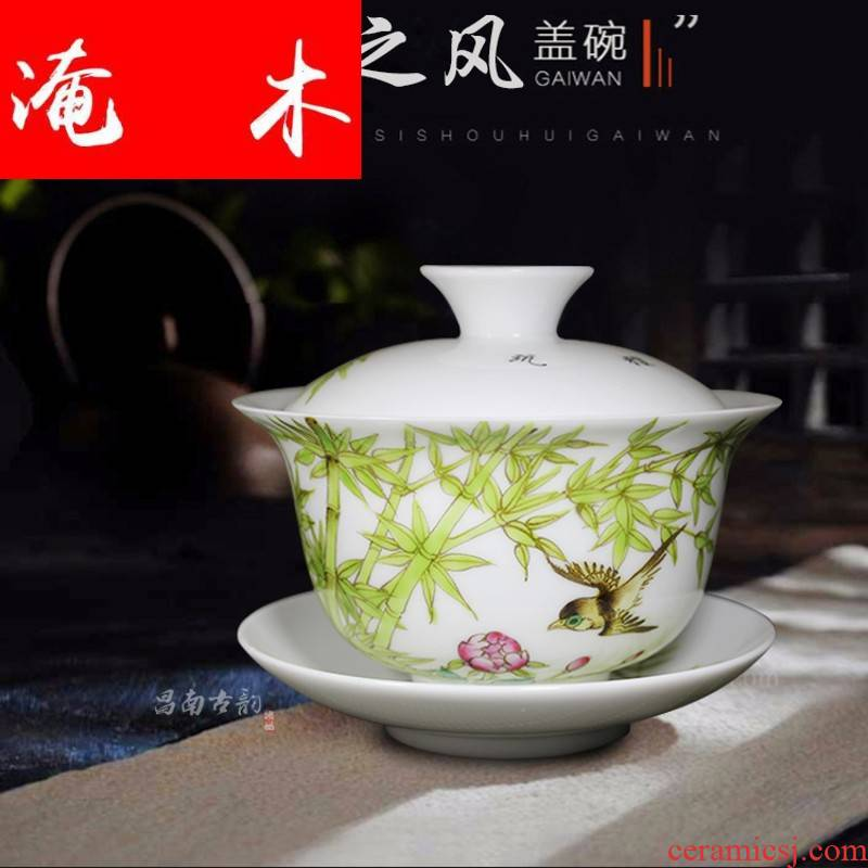 Submerged wood painting of flowers and large tureen jingdezhen ceramic cups kung fu tea tea, hand - made famille rose only three cups