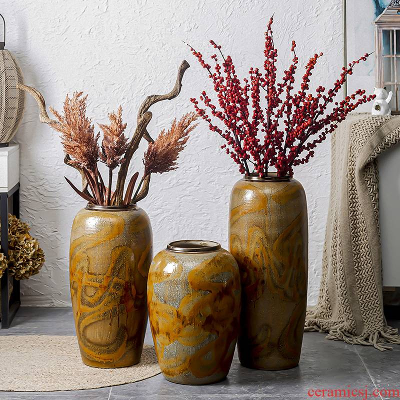 Restore ancient ways do old vase landing large American plug-in dried flowers sitting room hotel decoration ceramic coarse some ceramic pot furnishing articles