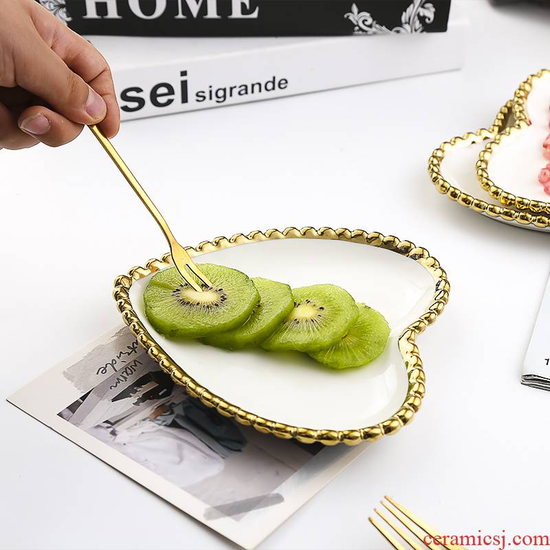 Utsuwa Nordic gilded edge bead light point ceramic plate plate key-2 luxury home early receive jewelry bundt cake plate