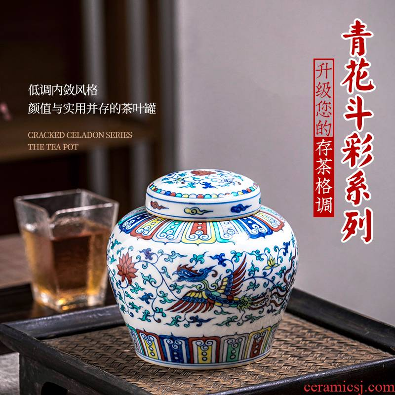 Jingdezhen ceramic color bucket hand - made of blue and white porcelain high - end pu 'er tea pot archaize storage tank is sealed with cover household
