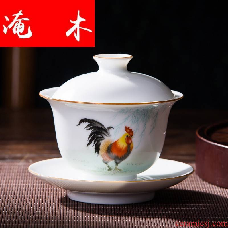 Submerged wood jingdezhen pure manual painting enamel rooster three tureen only chicken cylinder small kung fu tea set high white glazed porcelain cups