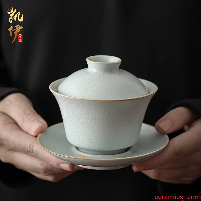 Open the slice your up to raise three tureen your porcelain ceramic cup tea bowl to bowl kung fu tea tea bowl
