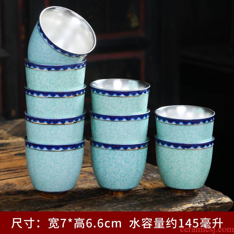 Silver and gold cup antique hand - made porcelain cup tie up branch lotus masters hand pressure of single CPU large - sized ceramic checking