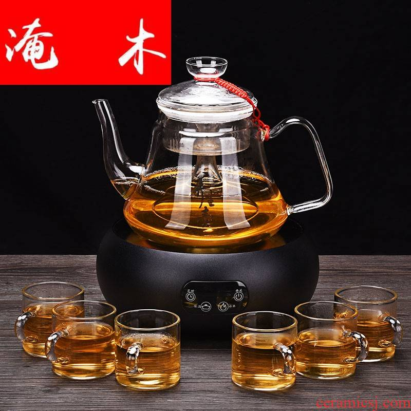 Flooded wood more heat resistant glass tea set suit household electric teapot the boiled tea, the electric TaoLu pu 'er tea steamer