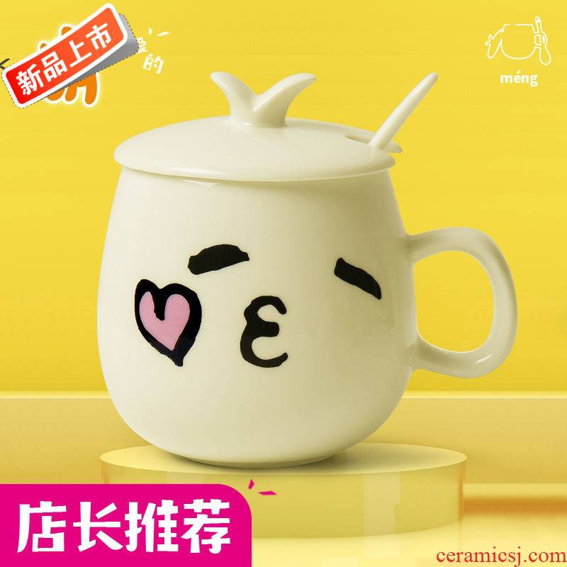 Getting creative Japanese cartoon lovers cup ceramic cup keller express girl with cover the spoon, milk cup customization
