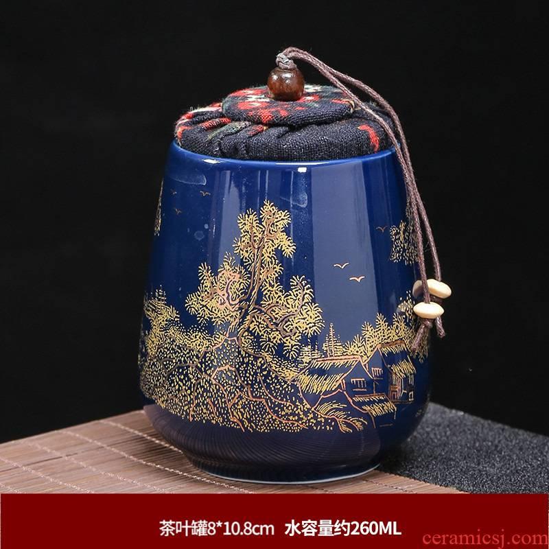 Tea pot ceramic trumpet celadon portable creative move fashion seal storage Tea pot home Tea caddy fixings