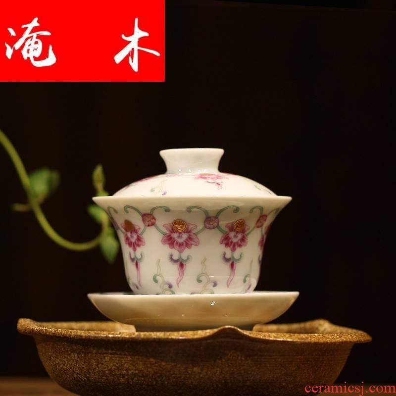 Flooded, rhyme tureen jingdezhen ceramic cups large kung fu tea set three bowl of pastel worship tea cups