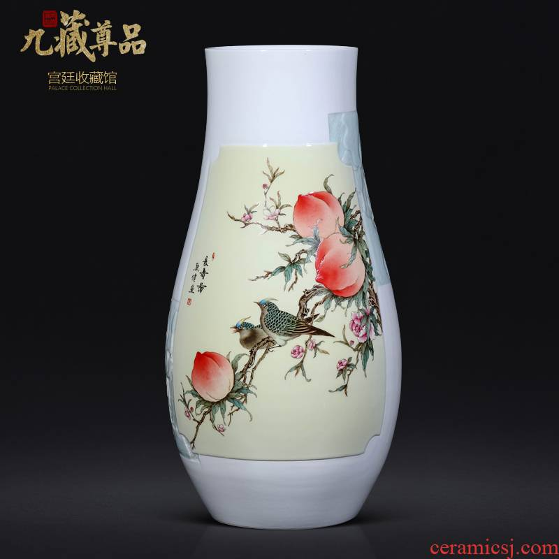 The Master of jingdezhen ceramics vase hand carved Chinese style living room porch decorate furnishing articles