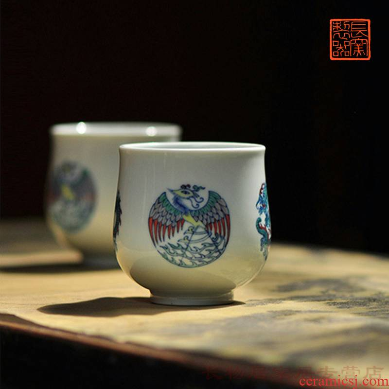 Offered home - cooked at flavour hand - made bucket CaiTuan dragon group chicken cup of archaize of jingdezhen ceramic tea set master sample tea cup in hand