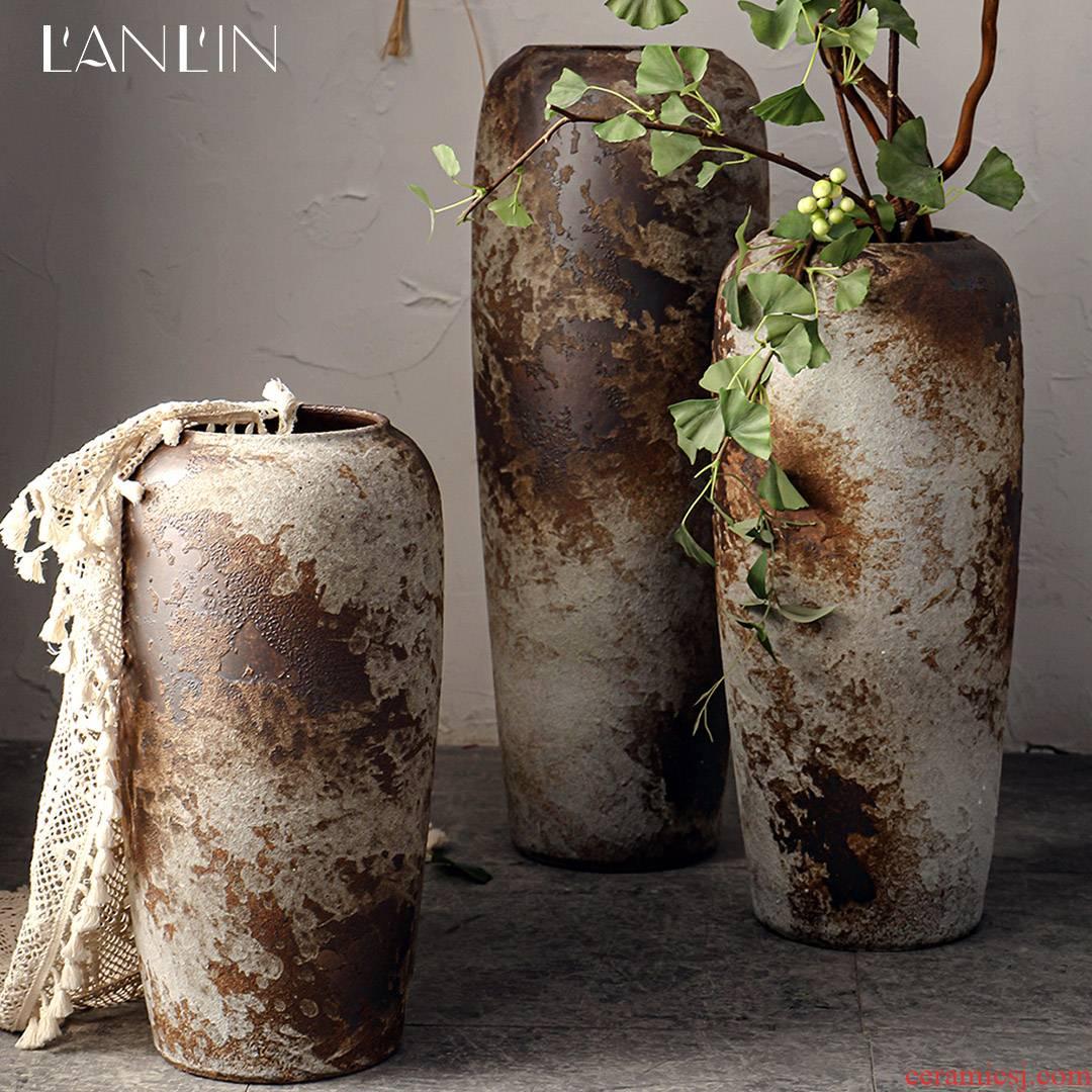 Large vases, flower arranging dry coarse ceramic pottery bottle hotel decoration of Chinese style retro nostalgia sitting room place