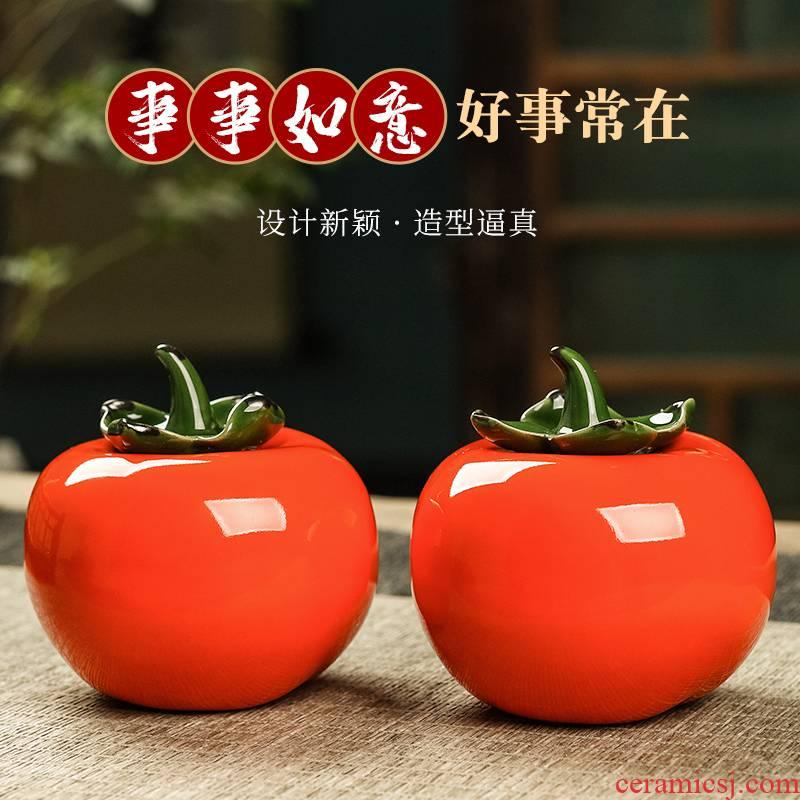 Ceramic persimmon tea pot bionic design of tomato travel carry as cans of jingdezhen small tea set positions