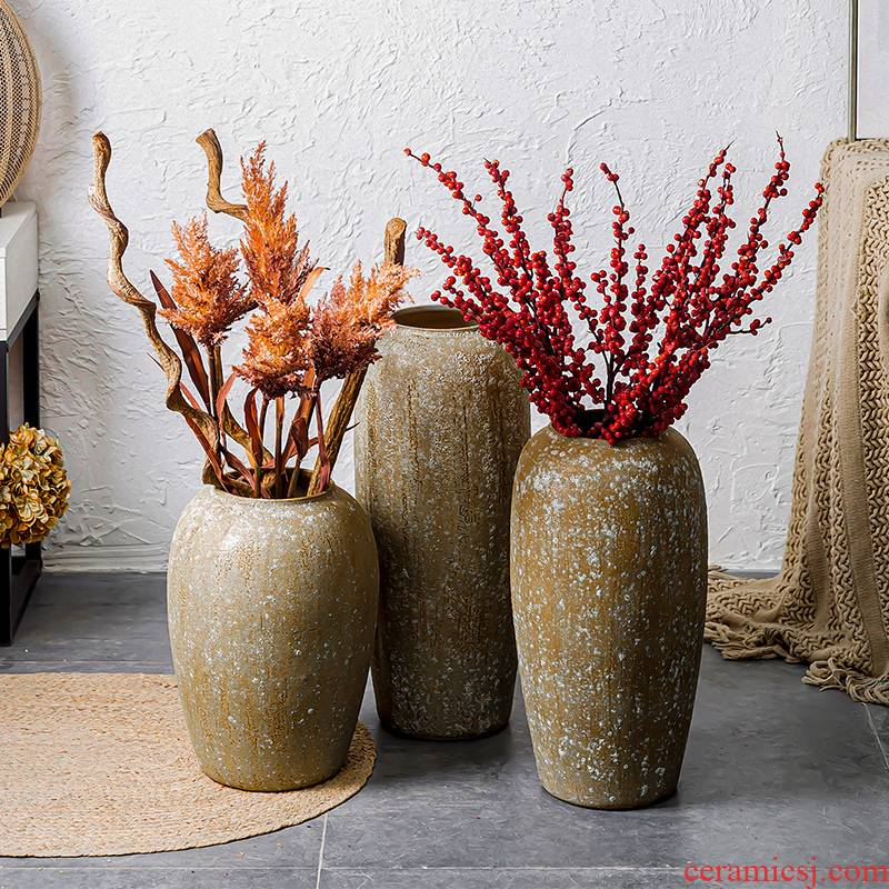 New Chinese style restoring ancient ways is coarse pottery southeast Asia Mediterranean wind vases, pottery furnishing articles large flower implement flowerpot decorations