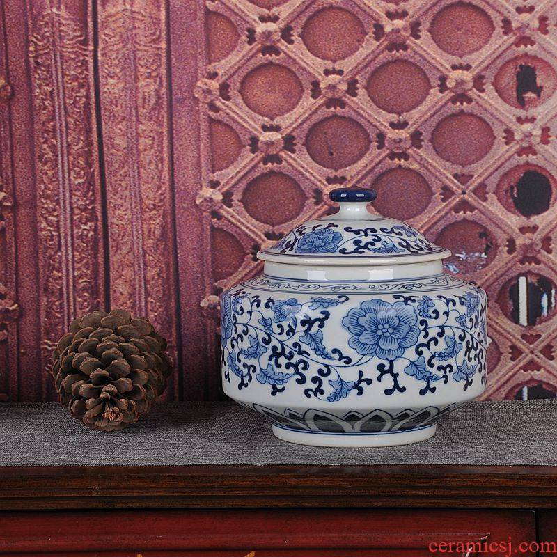 Jingdezhen blue and white ceramics glaze color storage tank under caddy fixings household adornment handicraft furnishing articles