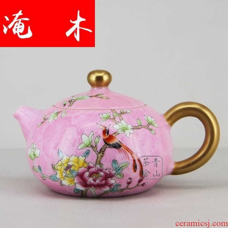 Flooded wood jingdezhen ceramic tea set the teapot hand - made see steak flower powder enamel paint powder enamel teapot over the pot