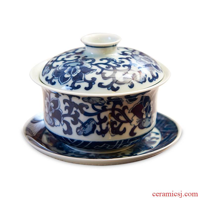 Longed for only three tureen tea cup large restoring ancient ways opportunely jingdezhen porcelain tea tureen hand - made of blue and white porcelain bowl