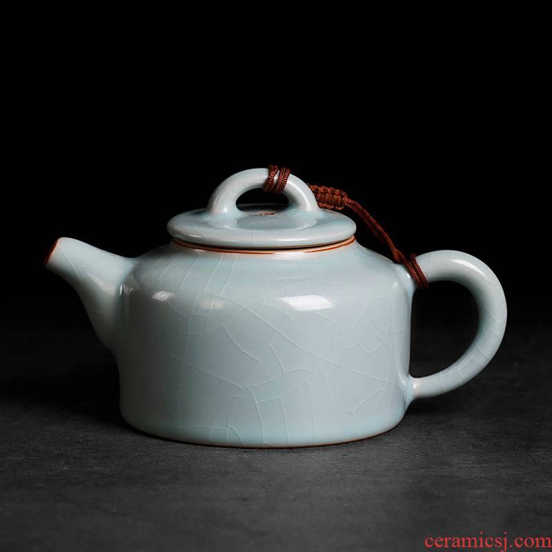 Start your up crack kung fu tea ice tea ware the teapot small single single ceramic pot f anniversary clock pot days cyan