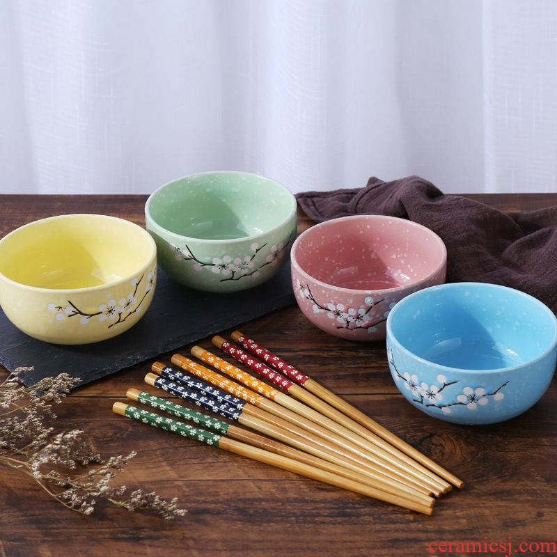 The kitchen four bowls of four chopsticks Japanese creative household tableware ceramic bowl set bowl chopsticks sets of rice, a bowl of soup bowl bowl