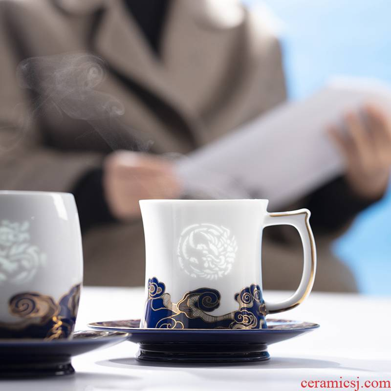 Jade BaiLingLong jingdezhen ji blue glaze see colour filter cup office picking gifts tea separation bright in intellect