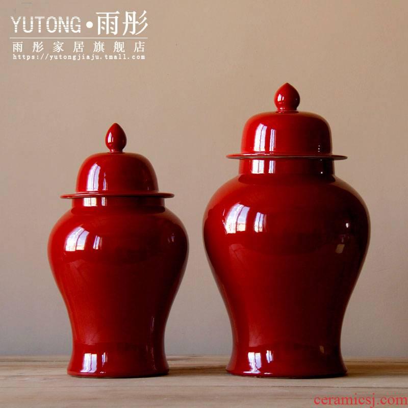 Jingdezhen ceramic vase furnishing articles red sitting room grain dry flower flower vase porch receive ideas