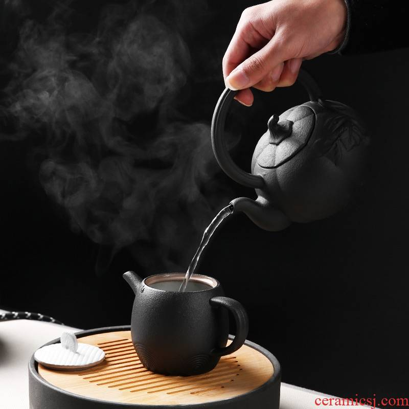 Qiao mu lava rock - electrical TaoLu ceramic boiling tea ware black tea kettle side soaked the pot of Japanese kung fu tea pot boil water