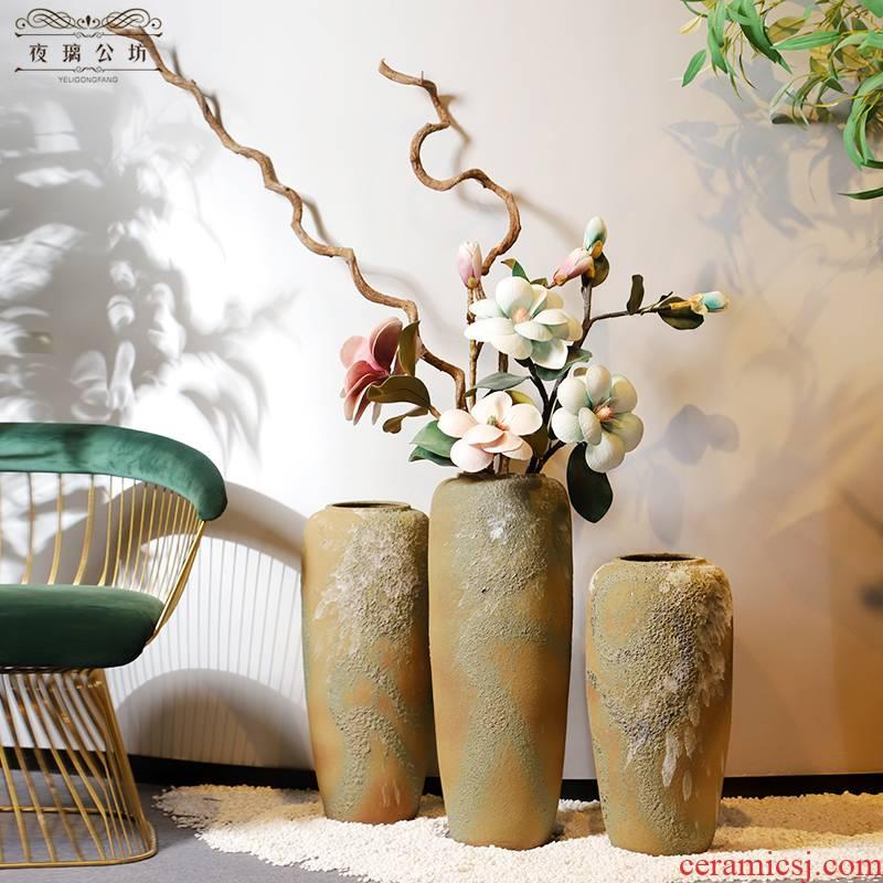 Jingdezhen be born long dry flower vase planting large restoring ancient ways is the sitting room TV ark, high furnishing articles nostalgic ceramics web celebrity