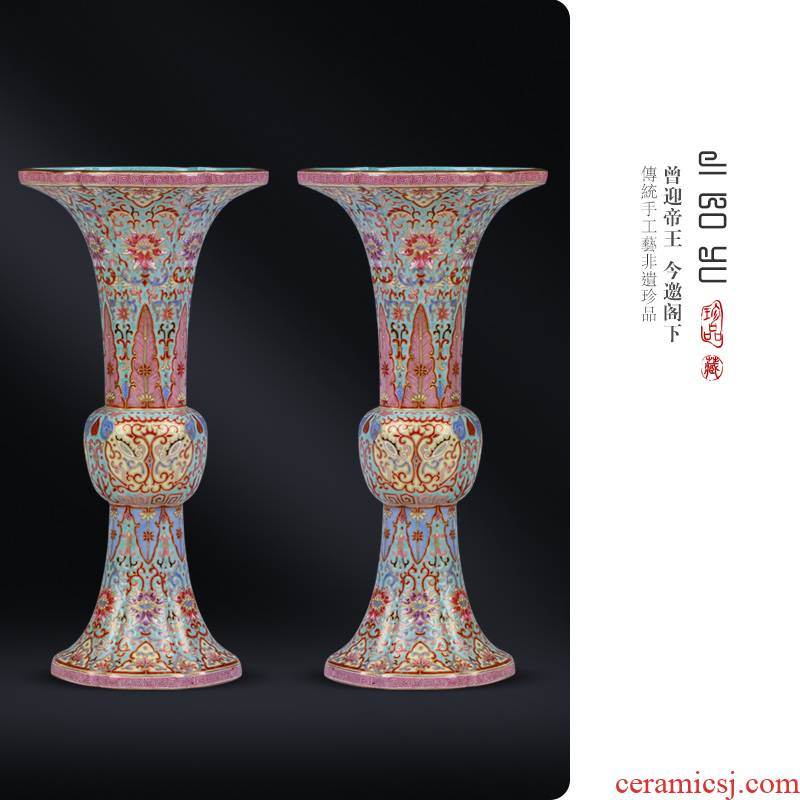 Imitation the qing qianlong hand - made enamel paint sitting room porch study flower arranging flower vase with jingdezhen ceramics decoration furnishing articles