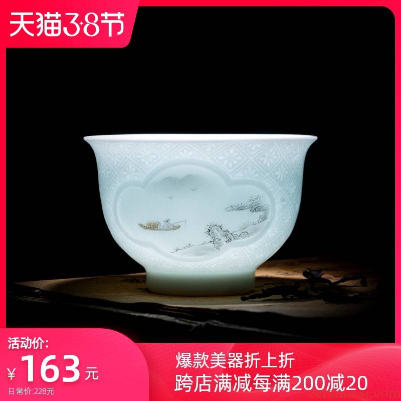 Holy big pure hand - made ceramic dark new color landscape poetry sample tea cup all hand carved the best window of jingdezhen tea service