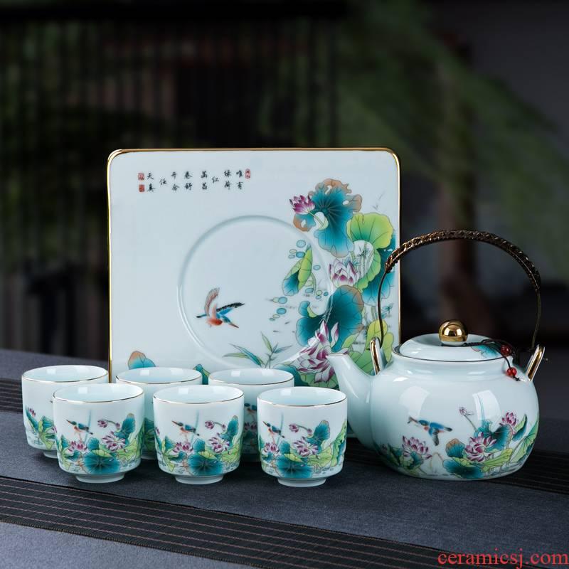 Jingdezhen kung fu tea set home sitting room retro large ceramic cups tea tray girder teapot