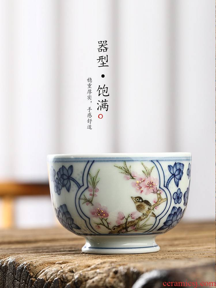 Jingdezhen hand - made peach blossom put water point master cup single cup pure manual blue - and - white kung fu tea tea set sample tea cup only