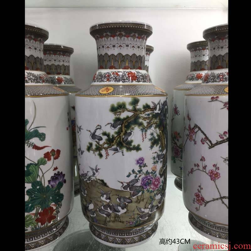 Jingdezhen porcelain 40 cm high wooden stick porcelain vases cranes lotus tong qu name plum blossom put tong qu vase