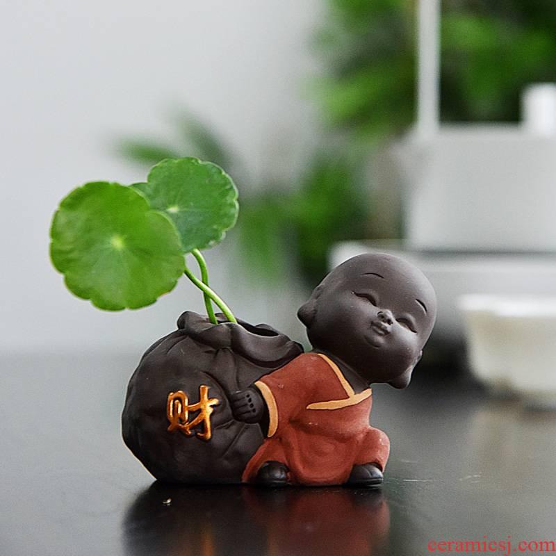 Hui shi creative violet arenaceous the young monk tea pet boutique furnishing articles flower tea tray, tea, tea accessories mini hydroponic flowers